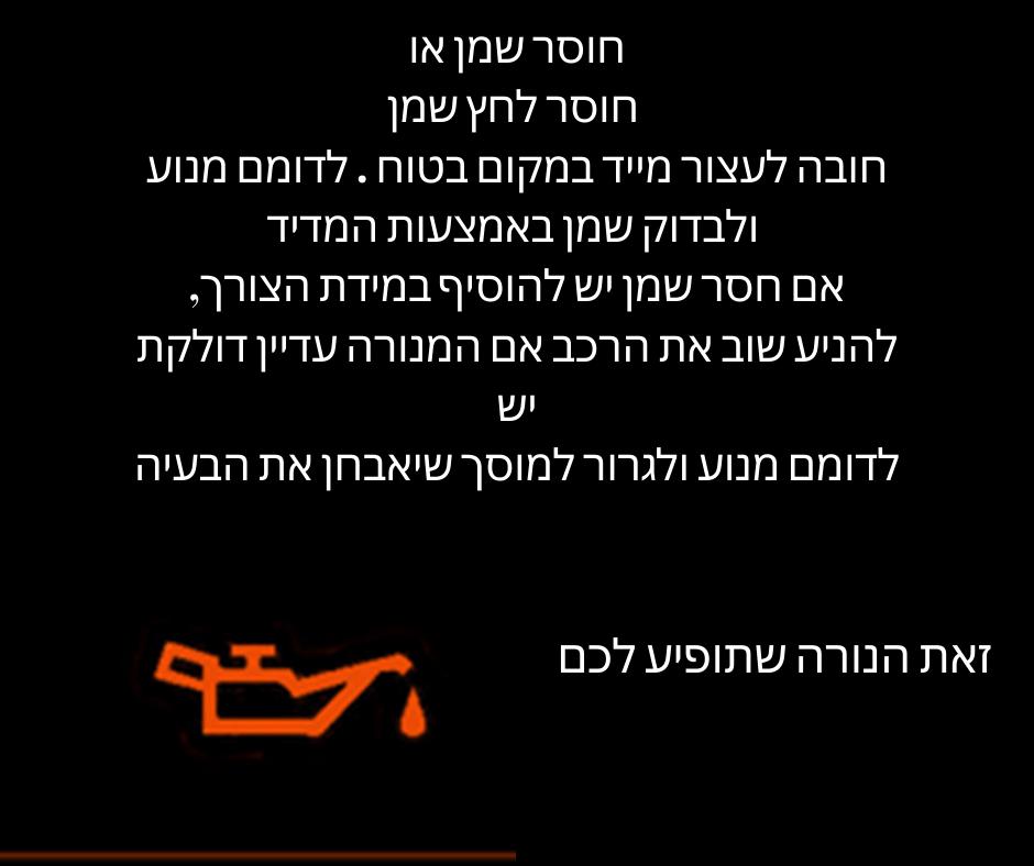 נורה אדומה בלוח השעונים של הרכב